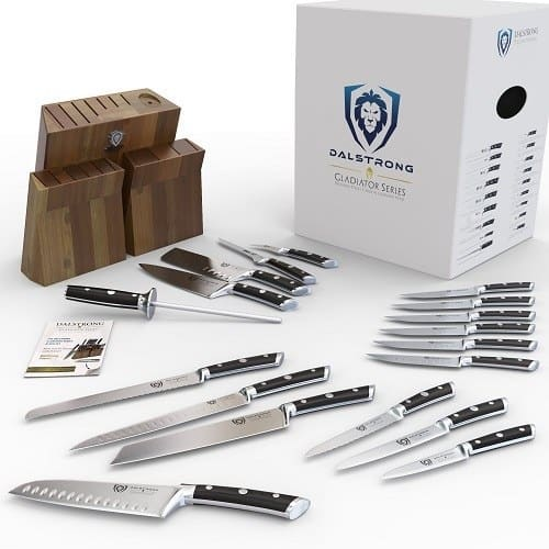 Qty: Add to Cart Turn on 1-Click ordering for this browser Deliver to Croatia Add to List Have one to sell? Sell on Amazon                Dalstrong Knife Set Block - Gladiator Series Colossal Knife Set - German HC Steel - 18 Pc - Walnut Stand Roll over image to zoom in Dalstrong Dalstrong Knife Set Block - Gladiator Series Colossal Knife Set